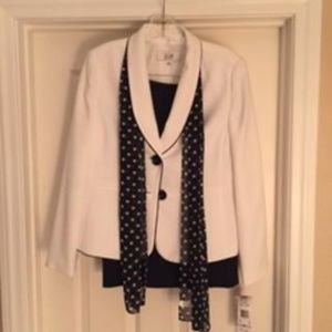 LE SUIT BLACK/WHITE 3 PIECE SKIRT SUIT SET SIZE 6P
